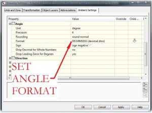 AutoCAD Civil 3D Angle Format Settings