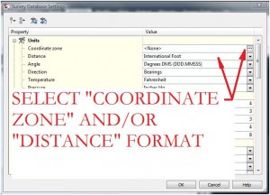 Select Coordinate Zone and Distance Format