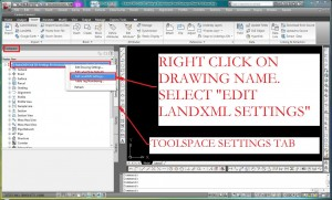 Select Edit LandXML Settings